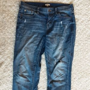 J. Crew 26 stretch ripped distressed jeans